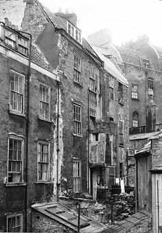 Dereliction and squalor at the rear of Bristol eighteenth-century houses, 1956 Victorian London, Victorian Life, Vintage London, Bristol England, London History, British History, Old Pictures, Old Photos, Vintage Photographs