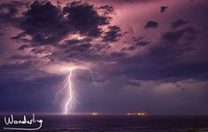 Amazing lightning storm out at sea last night spent hours watching and trying to trap some of it in a bottle. Storm Out, Safe Place, Long Exposure, Lightning, Ocean, Clouds, Inspirational, Sunset, Night