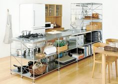 Stainless steel shelving unit for kitchen, Muji. Stainless Kitchen, Cheap Kitchen Decor, Home Decor Kitchen, House Interior, Home, Diy Kitchen Countertops, Kitchen Design, Industrial Kitchen Design, Home Decor