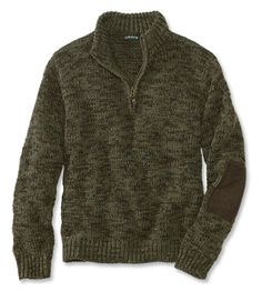 A mix of greens and browns gives this wool quarter-zip sweater for men its camo effect.