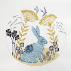 Mother/'s day Gift Hand Embroidery Kit The Hare Nature Cross Stitch Gift Idea Modern Cross Stitch Kit