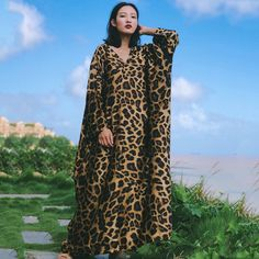 Leopard Printed Fashion Style Casual Loose Maxi Dress For Women – Babakud Bohemia Dress, Long Down Coat, Travel Dress, Winter Dresses, Fashion Prints, Types Of Sleeves, Trending Outfits, Printed, Tracking Number