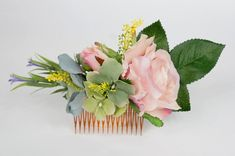 Floral hair comb - Pink rose Green/blue hydrangea - weddings, bridal, bridesmaid Blue Hydrangea Wedding, Flower Crowns, Hair Bands, Floral Hair, Hair Comb, Bridal Accessories, Blue Green, Floral Wreath, Bridesmaid