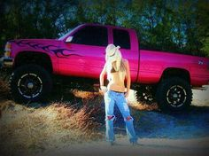 If you take away the flames, I would totaly want this #pink #lifted #truck