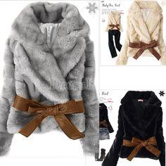 Hot Sale Korea Fashion Faux Fur Rabbit Hair Lady Warm Coat Jacket Fluffy Short Outwear Belted New