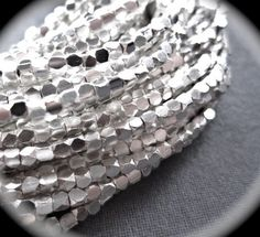 COMPLETE STRAND Sterling Silver Faceted Cube beads - 8 inches - 2mm X 2mm -  STRAND by lilysoffering on Etsy https://www.etsy.com/listing/91070595/complete-strand-sterling-silver-faceted