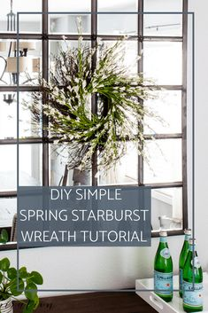 Add a simple touch of spring to your home decor this season with my oh-so-easy starburst forsythia wreath.#springwreath #forsythiawreath #diywreath