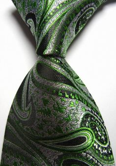 Item# green-black-paisley-silk-necktie