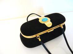 70s Vintage BLACK Suede TURQUOISE Bag