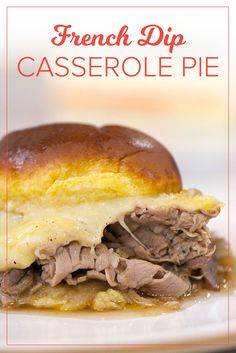 Calling all French Dip lovers! This recipe takes the classic juicy sandwich to a whole new level by turning into a casserole pie. It's a must if you're looking for an easy recipe.