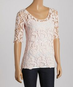 Love this Pink Floral Crochet Scoop Neck Top - Women by Love Point on #zulily! #zulilyfinds    16.99