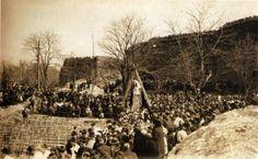Colocación oficial da primeira pedra do hospital municipal de Santa María. Lugo, 9 de abril de 1921