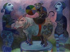 0il on Canvas by Jan VERMEIREN  1981 Circus piggy