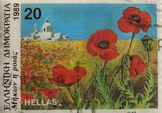 Stamp: Papaver rhoeas (common poppy) (Greece) (Greek Flora and Fauna) Mi:GR 1748 Greek Flowers, Wild Flowers, Postage Stamp Art, Forest Mountain, Flower Stamp, Tree Forest, Flora And Fauna, Flowering Trees, Science And Nature