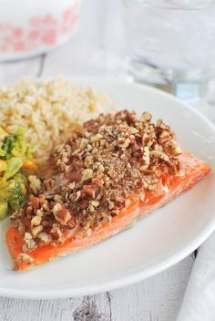 Maple Pecan Salmon - a healthy dinner ready in under 30 minutes!