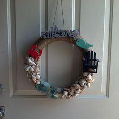 #summer #beach #wreath #sand #crab #chair #sailaway #shell