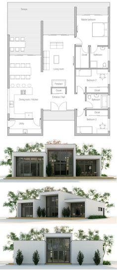 Home Plans, Floor Plans, Architecture, One Floor House Plans, Modern House Plans, Small House Plans, Casas Containers, House Blueprints, Architecture Plan, Future House, Building A House, Villa