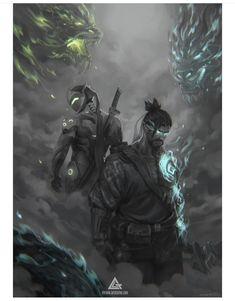 Overwatch - Genji and Hanzo Overwatch Dragons, Overwatch Hanzo, Overwatch Comic, Overwatch Fan Art, Ninja Wallpaper, Game Wallpaper Iphone, Hanzo Dragon, Genji Dragon, Genji And Hanzo