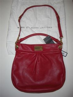 MARC by MARC JACOBS CLASSIC Q HILLIER RED RASBERRY HOBO LEATHER BAG NWT