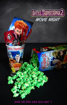 Planning a fun movie night? You can get Hotel Transylvania 2 on Blu-ray at Target with exclusive glow-in-the-dark stickers, plus while you're there you can pick up all the treats you'll need for a HotelT2 inspired goodie bag, like candy and popcorn!