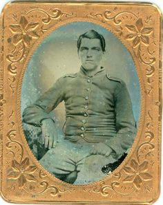 Ninth Plate Ambrotype of a young Confederate soldier with Florida origins.  He wears a nine-button tight fitting uniform coat with the collar and epaulettes trimmed in a lighter colored tape.