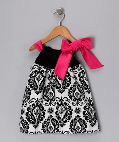 Take a look at this Damask Ribbon Dress - Infant, Toddler & Girls by Snuggle Bug Kidz on #zulily today!