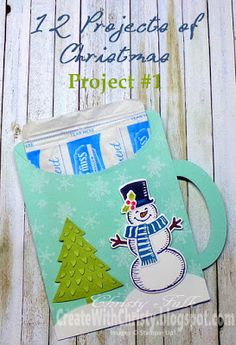 Stampin' Up! Snow Place Set, Snow Friends Framelits, & Peaceful Pines Framelits - Hot Cocoa Mug Pouch - Free, Illustrated Tutorial Included - Create With Christy: 12 Projects of Christmas - Project #1 - Christy Fulk, Stampin' Up! Demo