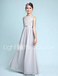 Sheath / Column Bateau Neck Floor Length Chiffon Lace Junior Bridesmaid Dress with Lace by LAN TING BRIDE® 2017 - $69.99