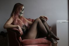 Scary & Sexy Halloween costume in the same time. Easy to do it yourself, just put on transparent bodysuit + fishnet panties & skull mask and your party costume is ready - # transparentbodysuit Sexy Halloween Costumes, Halloween Skull, Diy Costumes, Body Suit Outfits, Sexy Outfits, Black Bodysuit Outfit, Long Pink Hair, Skull Mask, Skull Makeup