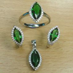 Marquise Cut Emerald Green White CZ 925 Sterling Silver Full Jewelry Set
