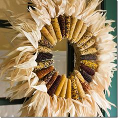 Thanksgiving wreath. #indiancorn #Thanksgiving #wreaths #DIY