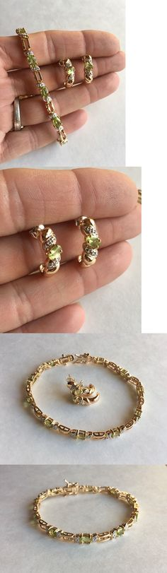 Diamonds and Gemstones 164326: Ross Simons 4Ct Peridot And Diamond 18K Gold Sterling Bracelet And Earrings Set -> BUY IT NOW ONLY: $39.99 on eBay!