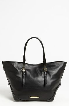 $1,095, Black Leather Tote Bag: Burberry Bridle Medium Leather Tote Black. Sold by Nordstrom. Click for more info: https://lookastic.com/women/shop_items/138174/redirect