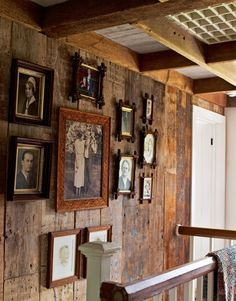 Although the wooden walls are original to this house (in the photo), I would love to transform a room with reclaimed wood, even if just on one wall, and the other walls in half wood, half delicate wall-paper!