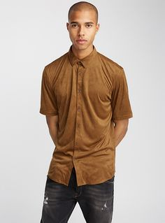 Faux-suede shirt Semi-tailored fit | Le 31 | Mens Solid Shirts: Shop for a Solid Colour Shirt for Men | Simons