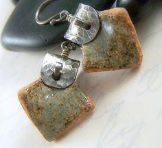 Ceramic Pottery Sterling Silver Earrings by WillowCreekJewelry, $38.00