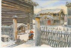 Klikk for å lukke Scandi Christmas, Christmas Cards, Christmas Eve, Baumgarten, Pretty Drawings, Unicorns And Mermaids, Postcard Art, Vintage Cards, Elves
