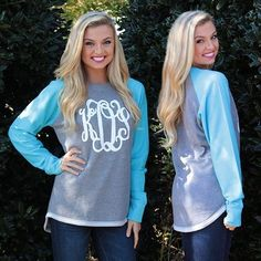 Our Monogrammed Raglan Sweatshirt Tunics will be your favorite comfy look this season! Available in 7 fun colors, get yours #ONSALE for $32.99, only at Marleylilly.com! **These sweatshirts fit true to size, so we recommend ordering a size up if you want an oversized look!** #marleylilly #monograms