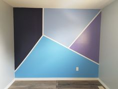 amazing geometric wall art paint design ideas to inspire you page 29 Purple Baby Rooms, Grey Boys Rooms, Purple Bedrooms, Blue Rooms, Blue Bedroom Walls, Blue Bedroom Decor, Teal Walls, Bedroom Colors, Bedroom Boys