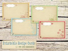 Printable Spring Recipe Cards by Sassaby
