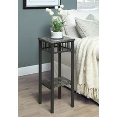 Simply luxurious, the Monarch Grey Marble / Charcoal Metal Plant Stand holds your plants in style. With its simple, charcoal-finished metal. Compact Furniture, Home Furniture, Furniture Ideas, Renovation Hardware, Marble Wood, Gray Marble, Metal Plant Stand, Plant Table, Wood And Metal