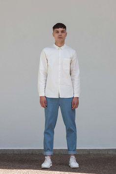 VON HUND Fashion & Design - Menswear Lookbook S/S16, White Pierre Shirt & Blue Denim Folcher Pants. Radical Price Transparency.  www.vonhund.com