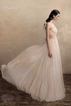 papilio color wedding dresses 2013 samanta peach sleeveless gown