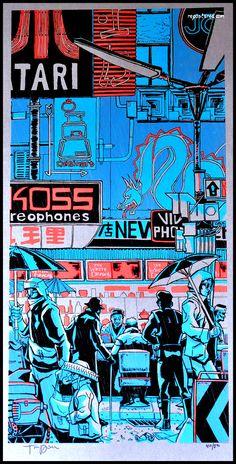 White Dragon Blade Runner Art Print by Tim Doyle Arte Cyberpunk, Animes Wallpapers, Cute Wallpapers, Aesthetic Art, Aesthetic Anime, Graphic Design Posters, Graphic Design Illustration, Blade Runner Art, Japon Illustration