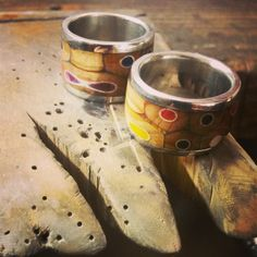 Colored pencil and pewter rings