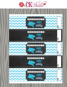 Beach Shark Birthday Water Bottle Labels by ckfireboots on Etsy
