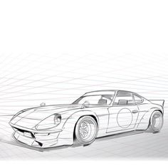 """""""The old #datsun #240z with the longer nose is still such a cool car. Add to my list of cars I would love to build. Here's a work in progress #sketch .…"""""""