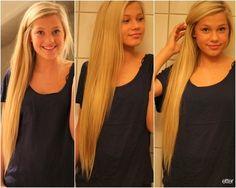 Long blonde hair...looks like tailbone length.--hair inspiration