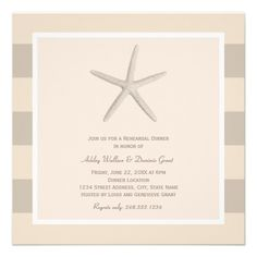 "Chic square rehearsal dinner invitations that are perfect for a destination wedding or a restaurant location near the beach. The ""Shoreline Chic"" Wedding Collection of stylish wedding invitations and stationery features tropical colors, illustrations of starfish, seashells, coral, and palm trees. Simple and elegant style, perfect for a seaside wedding destination. Neutral colors: Ivory and Sand"