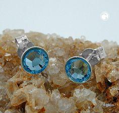 Stecker, rund, Stein aqua, 925  Kristall-Glas aqua